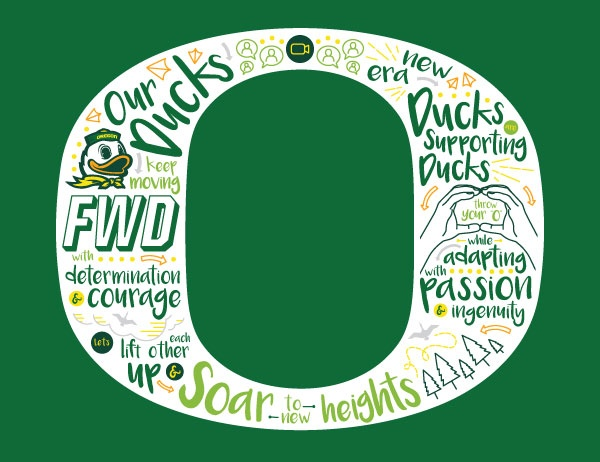 Graphic design artwork of the Oregon O in white against a green background