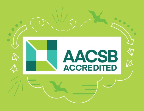 The AACSB logo against a lime green background, surrounded by lineart graphic icons