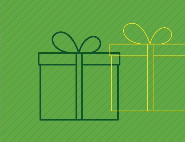 Gift box icon against green background