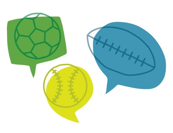 Line drawing of soccer ball, baseball, and football against a background of speech bubbles