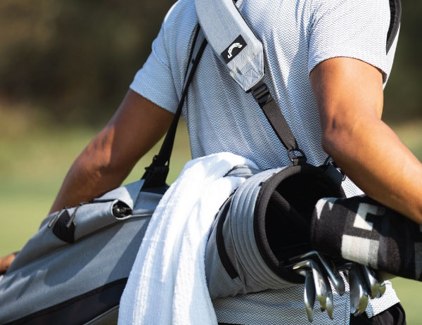 Close up photo of a Jones Sports golf bag. Photo courtesy of Jones Sports Co.