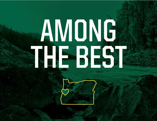 Green overlay on photo of forest river with 'Among the Best' in foreground