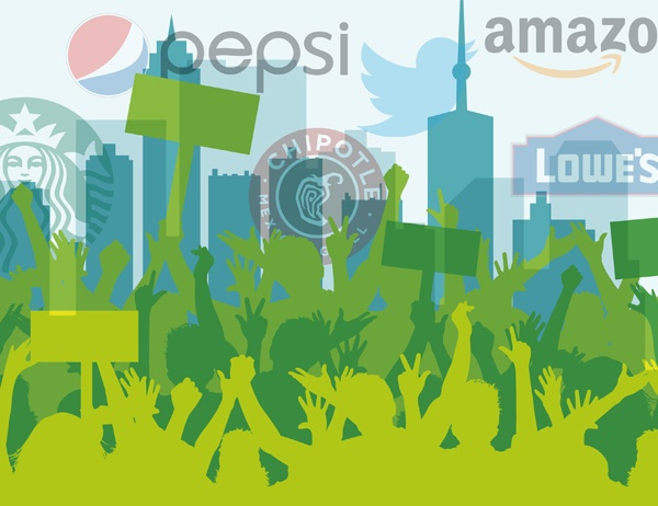 Graphic design of protestors in front of a cityscape