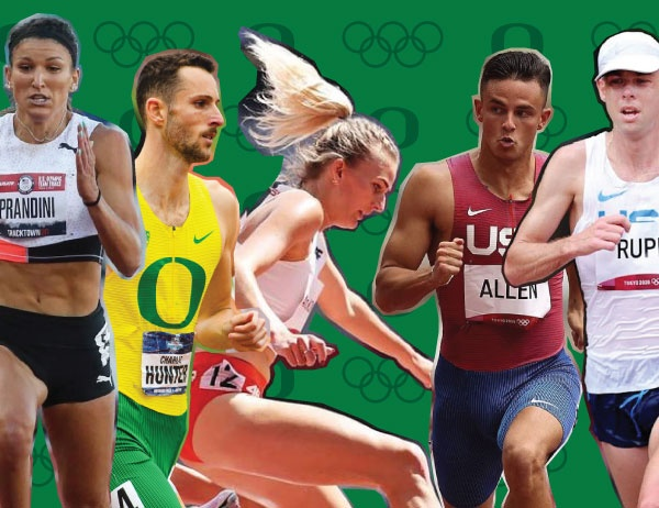 Cut out photos of Olympians Jenna Prandini, Charlie Hunter, Aneta Konieczek, Devon Allen, and Galen Rupp against a green background with UO and Olympic logos