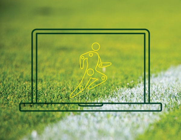 Lineart icon of a laptop with a running figure on the screen against a background of a grassy playing field