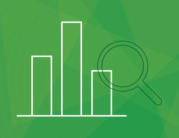 Lineart icon of a bar graph and magnifying glass against a green background