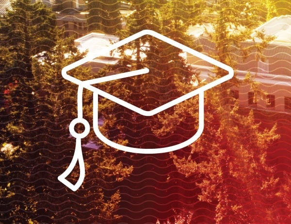Aerial view of UO campus with graphic icon of graduation cap