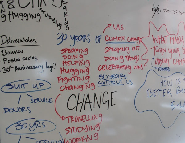 A photo of a student's planning process on a whiteboard