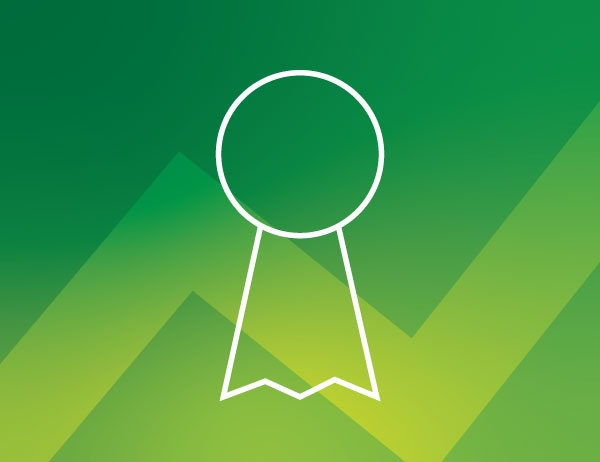 White icon lineart of an award ribbon against a green background