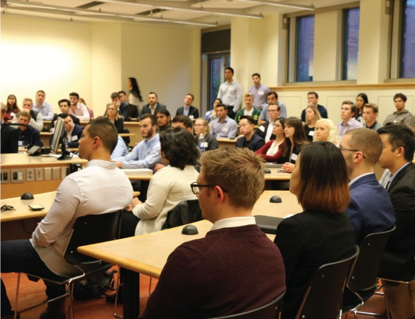 Students attend a panel on careers in banking