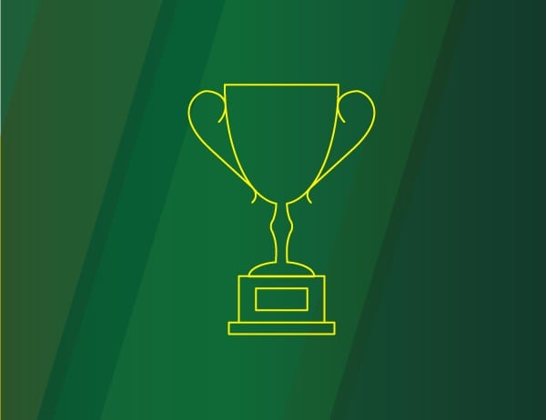 Icon of a trophy in yellow against a green background