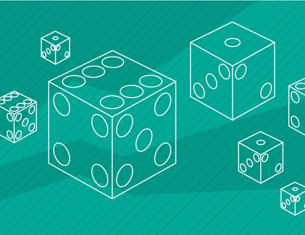Illustration of dice against a turquoise background