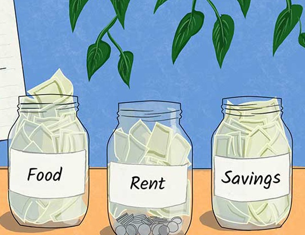 Illustration of coins and paper money in mason jars with different labels