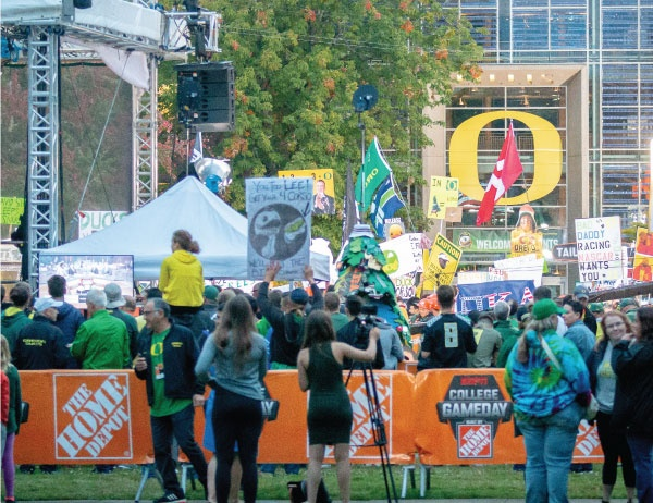 Crowds gather outside the Lillis Business Complex for College GameDay