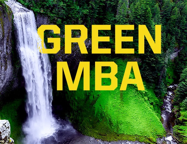 The words Green MBA against a background photo of a forest