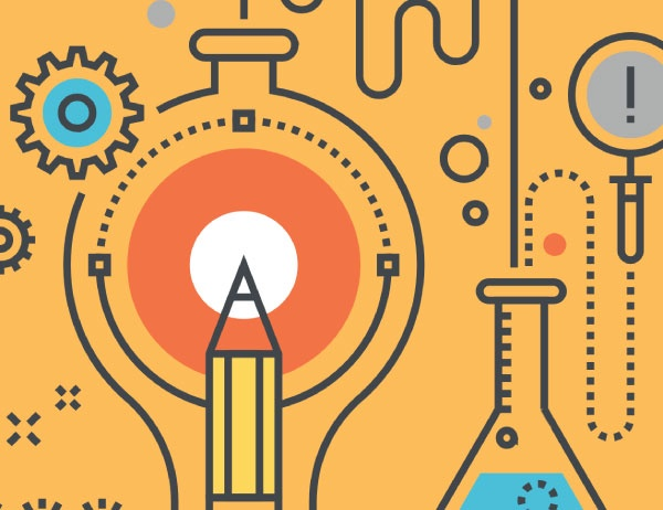 Illustration showing gear, pencil, light bulb and a beaker