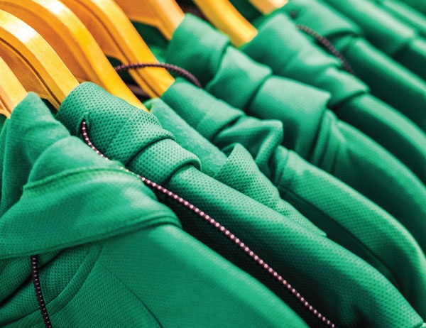 Close up photograph of racks of clothing at the Duck Store
