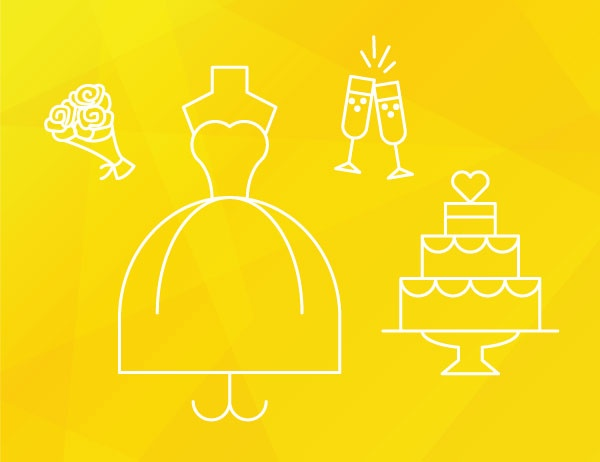 White lineart icons of items representing wedding planning against a yellow background