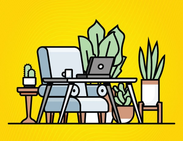 Illustration of an armchair, laptop table, and houseplants against a yellow background