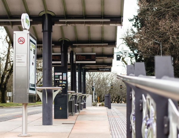 Photo of a bus station in Eugene, Oregon