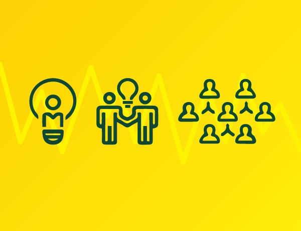 Iconography of a light bulb, two people with a lightbulb between them, and a group of people