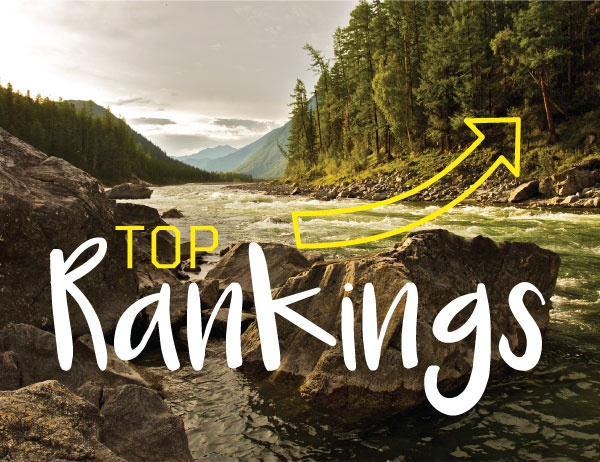 The words 'Top Ranking' against a background photo of a river