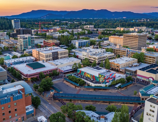 An aerial photo of downtown Eugene