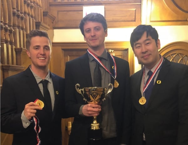 The Master of Science in Finance team poses with their trophy