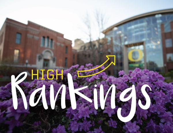 The phrase High Rankings with upward arrow iconography against a blurred background of the exterior of the Lillis building
