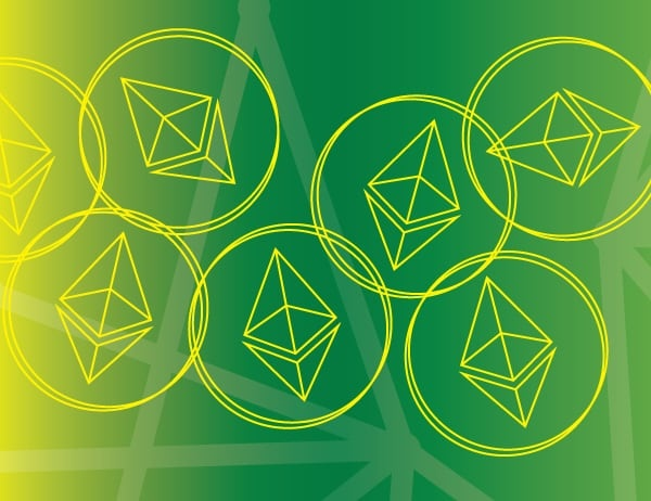 Yellow geometric design representing bitcoin on green backdrop