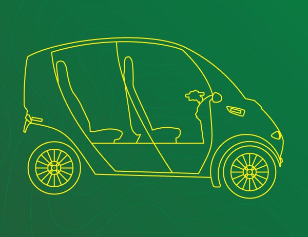 Yellow lineart of an arcimoto car against a dark green background