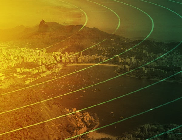 A panorama of Rio de Janeiro superimposed over the image of a track