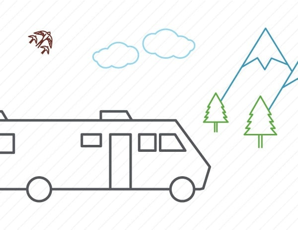 Illustration showing and RV with mountains and trees on a white stripped background