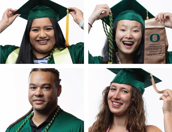 Four Pathway Oregon graduates in regalia