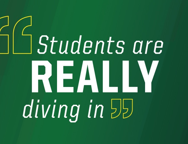 Text 'students are really diving in' against dark green background
