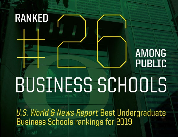 "The words ""ranked 26 among public business schools"" against green overlay of Lillis building"