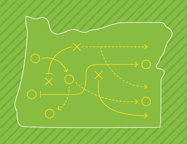 Lineart of Oregon state against a bright green background