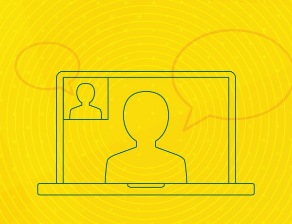 Green lineart icon of a laptop against a yellow background
