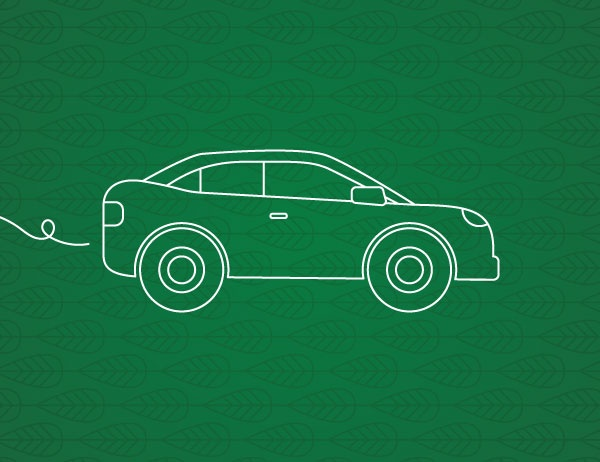 White icon lineart of a car against a dark green background
