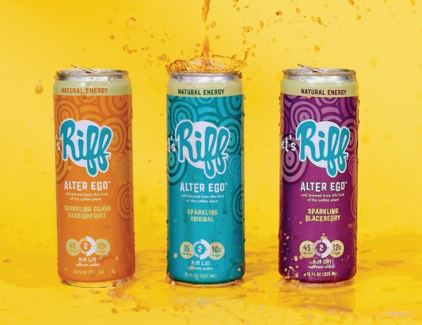 A promotional image of different flavors of Alter Ego in cans