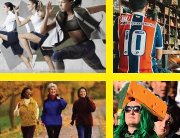 Collage of photos representing sportswear apparel
