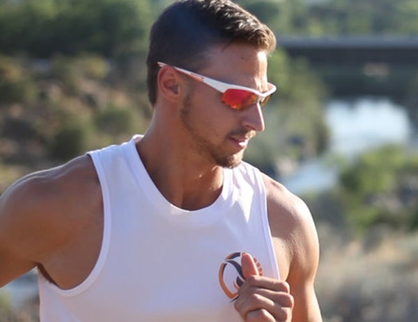 Jogger wearing sunglasses