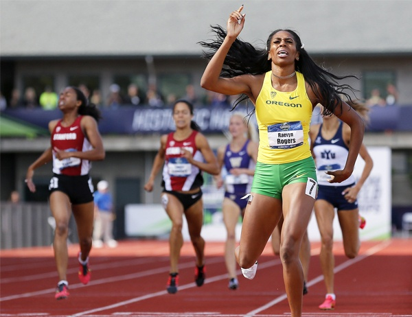 Raevyn Rogers upon successful competition of a track race