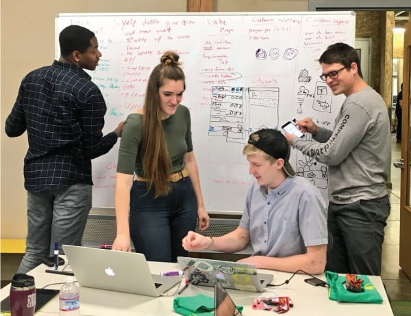 Students brainstorm a startup idea at one of the many innovation and entrepreneurship focused events on campus
