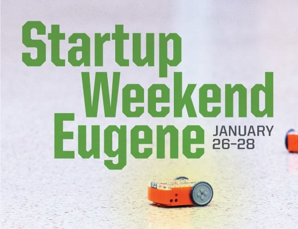 Startup Weekend Eugene title against background photo of tiny robots