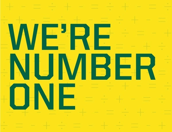 We're number one green lettering on yellow background