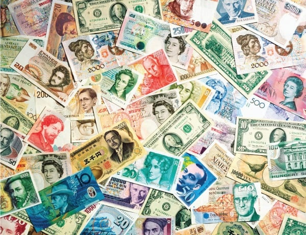 Photo of different types of paper currency