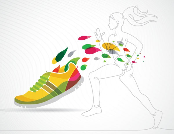 A lineart graphic of a woman running along with a colorful shoe design