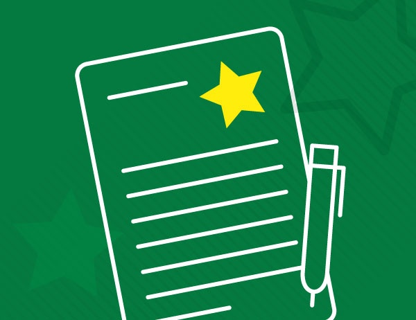 Lineart icon of a paper and pen against a background of green stars