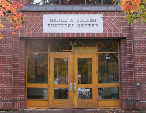 Front doors of Chiles Hall